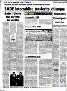I tre articoli della Merlin sul caso Vajont pubblicati dall'Unità